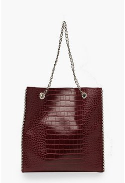 Womens Burgundy Premium Croc PU & Metal Bead Tote Bag