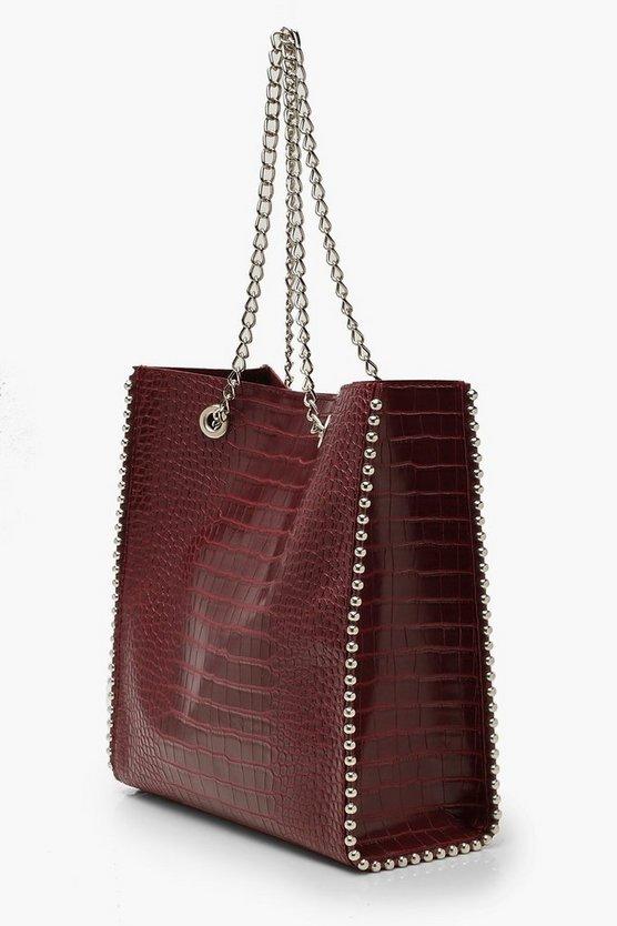 Premium Croc PU & Metal Bead Tote Bag