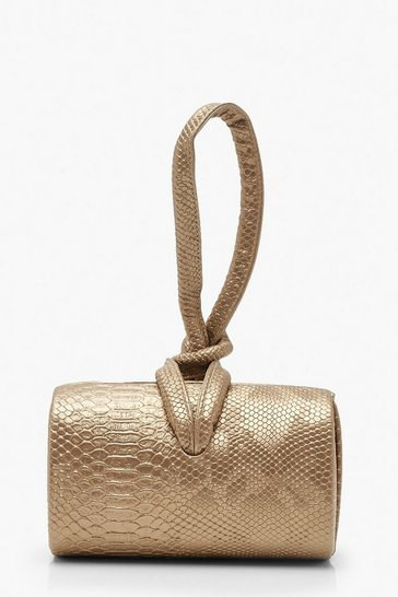 Womens Gold Metallic Mini Knot Handle Clutch Bag
