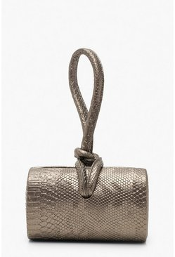 Womens Silver Metallic Mini Knot Handle Clutch Bag
