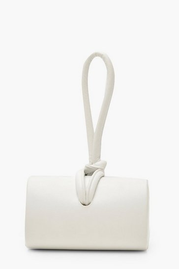 Womens White PU Mini Knot Handle Clutch Bag