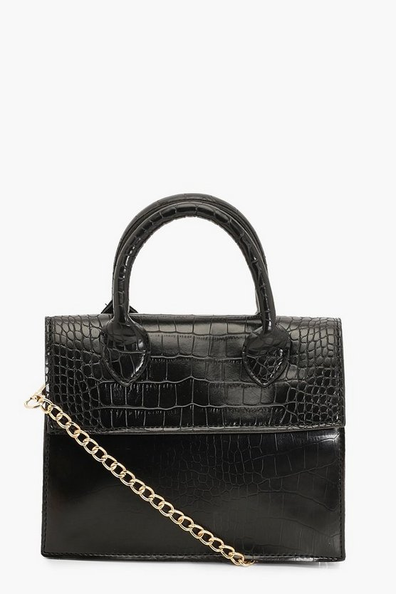 Mini Croc Structured Cross Body Bag