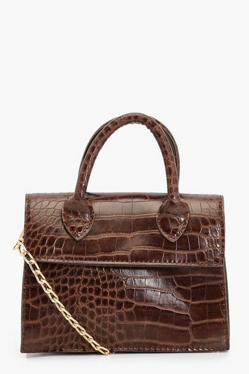 Chocolate Mini Croc Structured Cross Body Bag