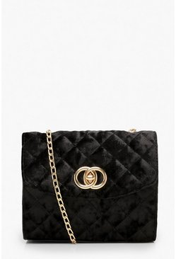 Womens Black Quilted Velvet Mini Cross Body Bag
