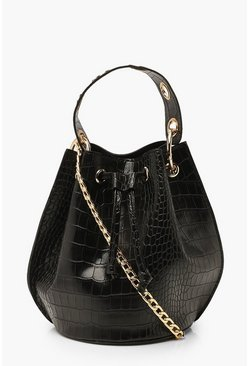 Black Croc Ring Handle Cross Body Bucket Bag