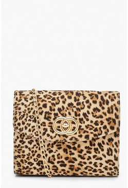 Womens Brown Leopard Ring Detail Cross Body Bag