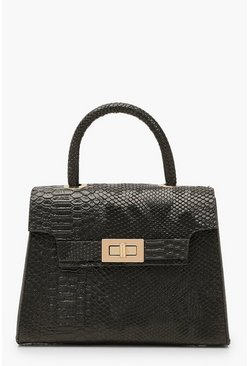 Snake Small Tote Bag, Black