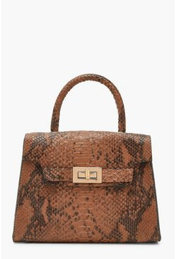 Snake Small Tote Bag, Brown