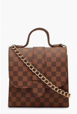 Brown Check Structured Mini Tote Cross Body Bag