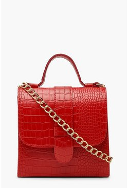 Womens Red Croc Structured Mini Tote Bag