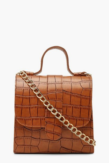 Womens Tan Croc Structured Mini Tote Bag