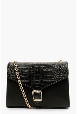 Womens Black Croc Buckle Detail Cross Body Bag