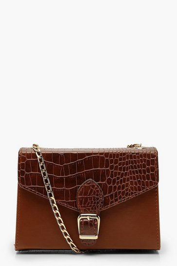 Womens Tan Croc Buckle Detail Cross Body Bag