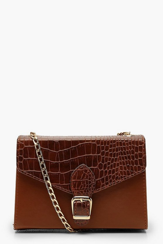 Croc Buckle Detail Cross Body Bag