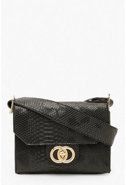 Dam Black Snake Buckle Wide Strap Cross Body Bag
