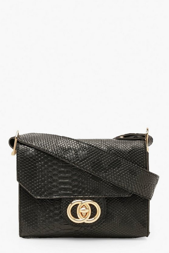 Snake Buckle Wide Strap Cross Body Bag