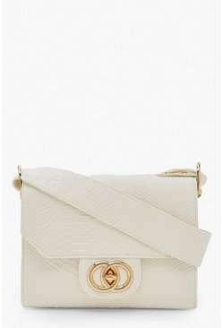 White Snake Buckle Wide Strap Cross Body Bag