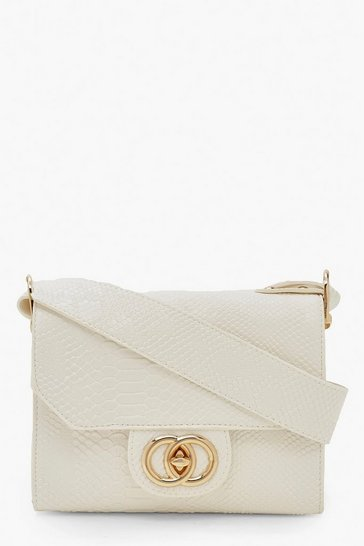 Womens White Snake Buckle Wide Strap Cross Body Bag