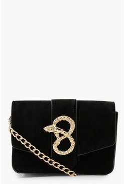 Womens Black Suedette Snake Buckle Chain Multiway Bag