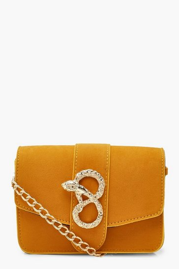 Womens Mustard Suedette Snake Buckle Chain Multiway Bag