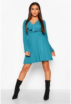 Teal Rib Ruffle Front Wrap Skater Dress