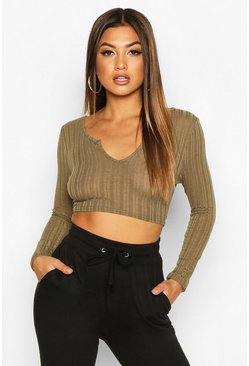 Womens Khaki Long Sleeve Ribbed Crop Top