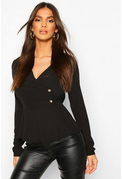 Black Asymetric Button Woven Peplum