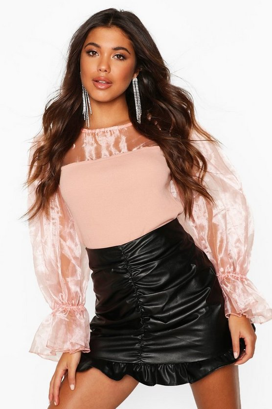 Womens Nude Organza Puff Sleeve Top