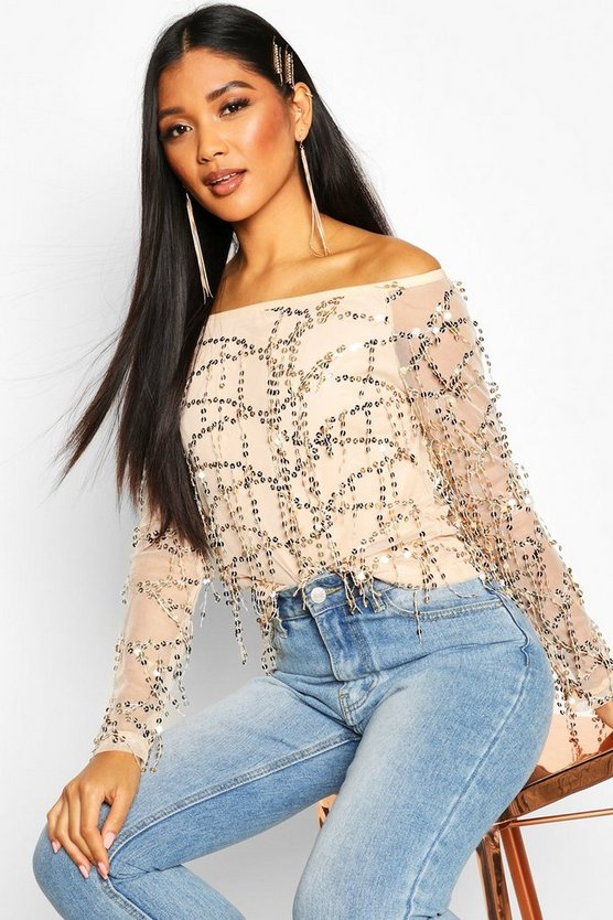 Sequin Off The Shoulder Top by Boohoo