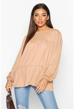 Womens Camel Crepe Tierred Smock Top