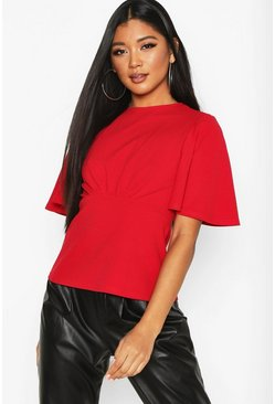 Dam Red Crepe Ruffle Sleeve Top