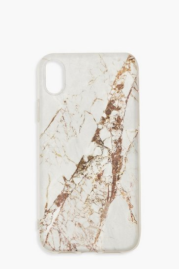 Womens White Gold Marble Print iPhone XR Case