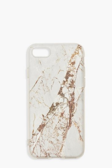 Womens White Gold Marble Print iPhone 7/8 Case