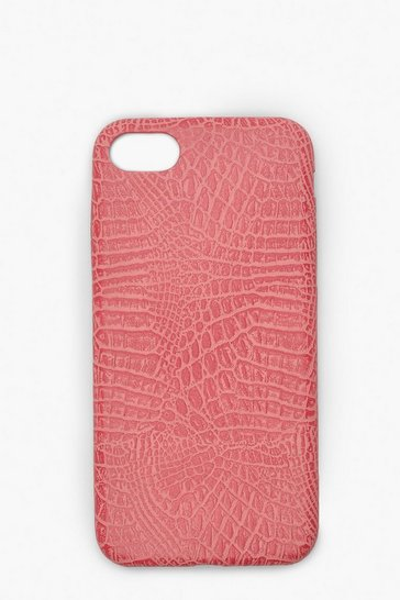 Womens Pink Croc PU iPhone 7/8 Case