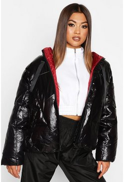 Womens Black Oversized High Shine Puffer Jacket
