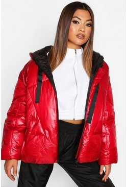 Womens Red Oversized High Shine Puffer Jacket