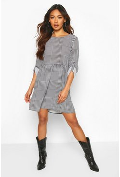 Womens Black Check Shift Dress