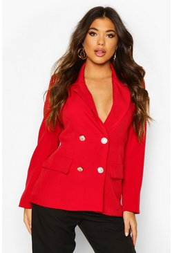 Womens Berry Double Breasted Boxy Military Blazer