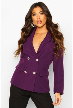 Purple Double Breasted Boxy Military Blazer