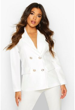 White Double Breasted Boxy Military Blazer