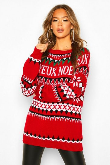 Womens Red Christmas Joyeux Noel Slogan Jumper