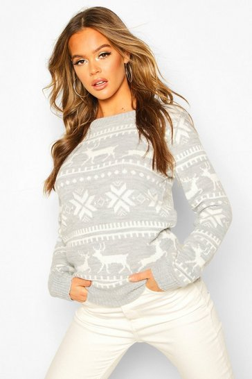 Womens Grey Christmas Fairisle Jumper