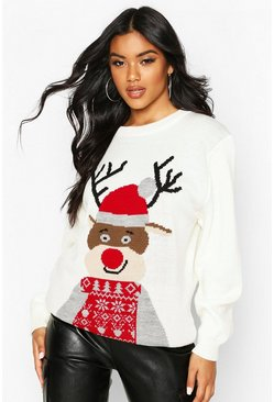 Womens Cream Christmas Reindeer Jumper
