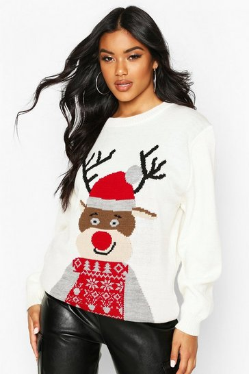 Cream Christmas Reindeer Jumper