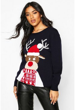 Womens Navy Christmas Reindeer Jumper