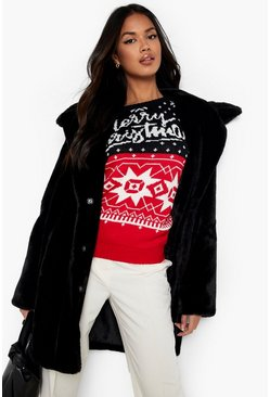 Womens Black Christmas Fairisle Jumper