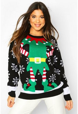 Womens Black Christmas Mrs Elf Jumper