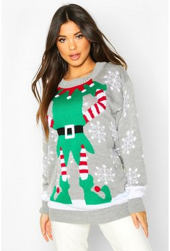Grey Christmas Mrs Elf Jumper
