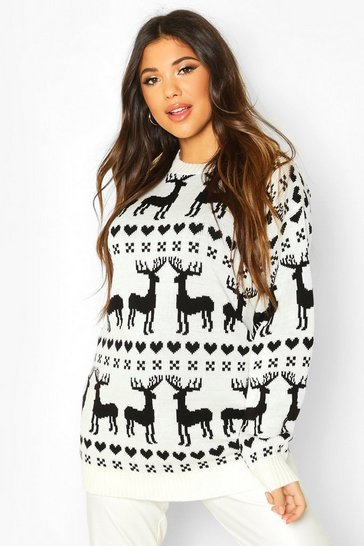 Cream Christmas Reindeer Fairisle Jumper