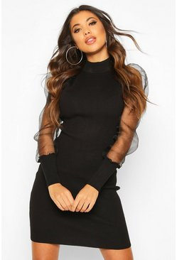 Black Organza Mesh Puff Sleeve Mini Dress